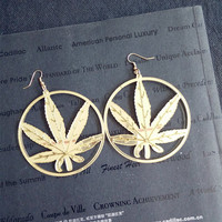new Hip Hop Women Golden Cannabiss Weed Dangle Earring Chunky Pot Leaf Weed Earr