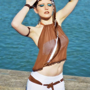Halter top Brown chiffon and wooden beads