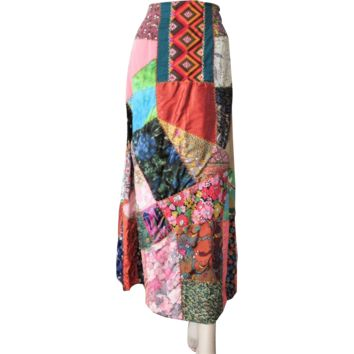 Patchwork Crazy Quilt Skirt Vintage 1970s Boho Bohemian Hippie Multi Colored Maxi