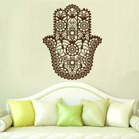 Wall Decal Hamsa Vinyl Sticker Decals Home Decor Hamsa Hand Eye Indian Buddha Yoga Fatima Ganesh Lotus Patterns Art Bedroom Dorm x200