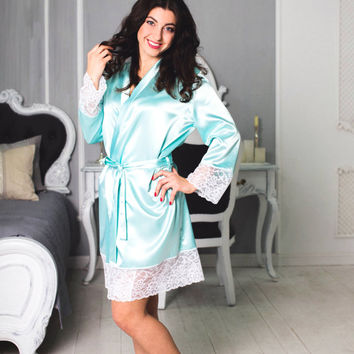 FLORENCE Dressing Gown, ITALIAN Lace robe, silky robe, white lace robe, ladies robe, loungewear, boudoir robe, Gift for her, Wife's gift,