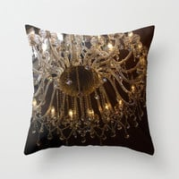 Chandelier photo pillow, warm tone home decor, brown living room cushion art, antique style lighting soft furnishing