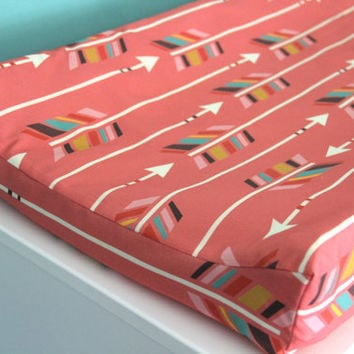 colorful arrows on hot pink large scale contoured changing pad cover