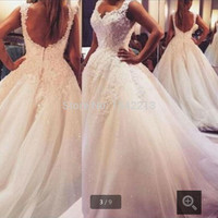 Ball Gown Bride Dresses Open Back Sexy Plus Size Wedding Dress Princess Style with Lovely Lace Appliques 2016