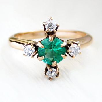 Vintage Antique Victorian Emerald and Diamond Engagement Anniversary Ring 14kt Yellow Gold Very High Quality Diamond Cut Natural Emerald