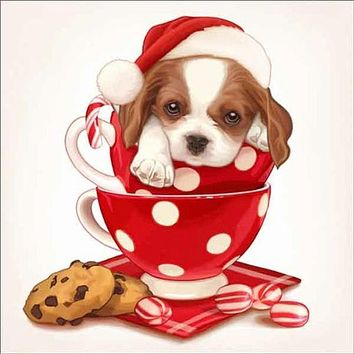 5D Diamond Painting Polka Dot Cup Christmas Puppy Kit