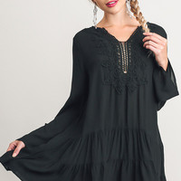 A-Line Embroidered Ruffled Hemline Dress - Black