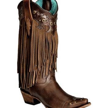 Corral Sierra Fringe & Studded Cowgirl Boots - Snip Toe - Sheplers