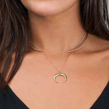 Moon Choker Necklace, Gold Moon Necklace, Crescent Moon, Dainty Gold Choker, Silver Choker Necklace [L1]