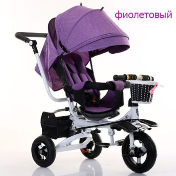 Baby trolley baby bike children tricycle rotating seat with hand push folding bike baby bike child 1-3-5 bike