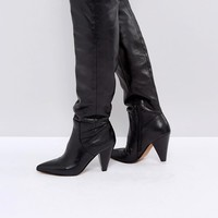 ASOS CARRIE Leather Cone Heel Boots at asos.com