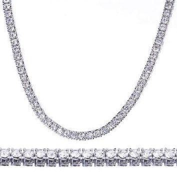 """Jewelry Kay style Men's Fashion Iced Out 4 mm 26"""" Round Stone Silver Plated Tennis Chain Necklace"""
