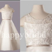 Ivory Lace Flower Girl Dresses Beautiful Bow Flower Party Dresses 2014 New Fashion Wedding Dresses