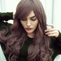 Tarot - Lush Wigs - Dusky Lilac Brown Wavy Curls Natural Gothic Lolita Cosplay Lush Wig
