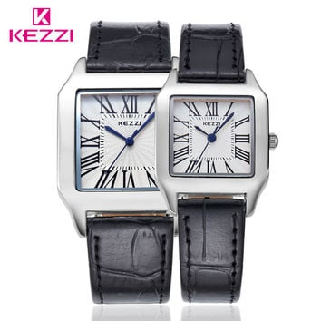 Fashion Brand Couples Watches Square Roman Dial Leather Strap Women Men Watch Lovers Party Dress Wrist Watch montre femme