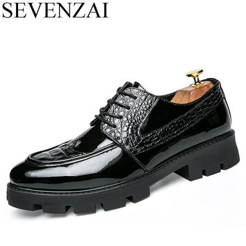 italian male height increasing leather formal brogue platform oxford shoes for men shoes luxury brand 2017 casual footwear men