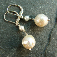 Kasumi Like Freshwater Pearl Earrings with Sterling sivler Lever Backs - Dangle Earrings - Drop Earrings