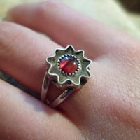Authentic Navajo,Native American,Southwestern sterling silver red paua shell starburst ring. Size 8.Can adjust to 9.