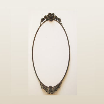 Old beautiful Bronze Oval Mirror Frame with Rose Motifs