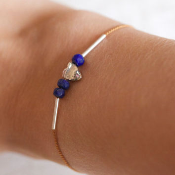 NEW Delicate silk bracelet: lapis lazuli and sterling silver thin silk adjustable bracelet