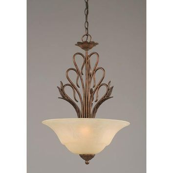 Toltec Lighting 204-BRZ-53613 Swan Bronze Three-Light Bowl Pendant with Amber Marble Glass Shade