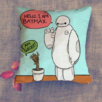 i am baymax i am groot new friend pillow case/ Pillow Cover/ 16 x 16/ 18 x 18/ 16 x 24/ 20 x 30/ 20 x 36