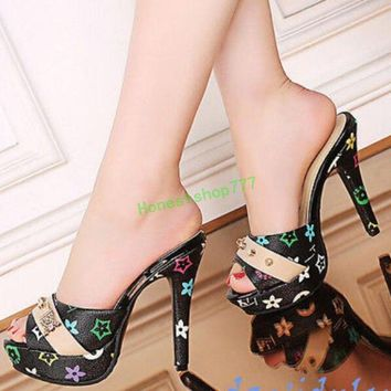 Fashion Women High Stiletto Heel Open Toe Sandals Lady Pull On Slipper Shoes
