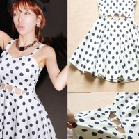 Vintage Dot Cut Out Dress