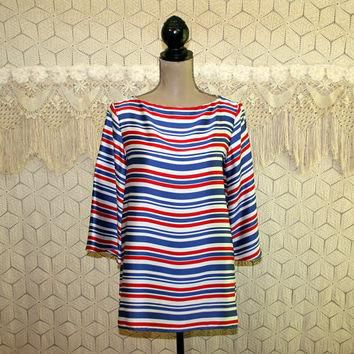 90s Satin Blouse Red White and Blue Striped Top Medium 4th of July Crop Sleeve Long Tu