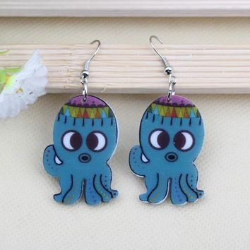 1 pair lovely octopus cute printing drop earrings acrylic new design spring/summer style for girls woman jewelry fashion