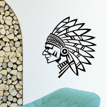 WALL DECAL VINYL STICKER PEOPLE NATIVE AMERICAN INDIAN MAN TRIBAL DECOR SB894