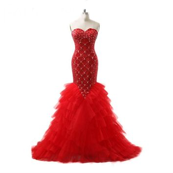 Full beads Mermaid Wedding Dresses Sequin Crystal Bridal Gowns Red  Wedding Gowns