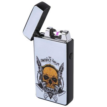 HopingFire Hot Selling New Fashion Skull Dual Arc USB Lighter, Windproof Double Beams Pulse Rechargeable Cigarette Electronic Lighter in High Grade Packing Box (Diamond)