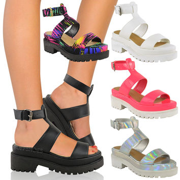 Platform Wedge Sandals Womens Chunky Cleated Sole Shoes Flatforms Size