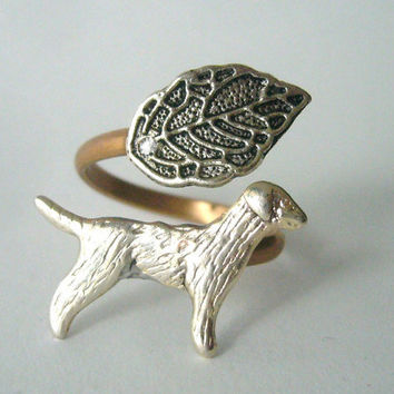 Dog ring with a leaf wrap style