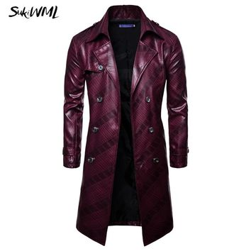 SUKIMWL Trench Coat Homme New Fashion Mens Long PU leather Trench Coat Long Jacket For Men Slim Fit Winter Coat Mens