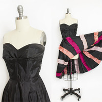 Vintage 1950s Dress - Dance Costume Black Full Circle Skirt Pink Ruffles Strapless Can Can 50s - Medium M