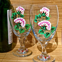 Hand Painted Wine Glasses With Flowers And A Crystal Charm