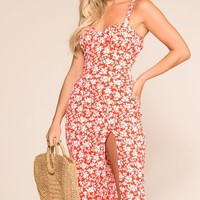 Coretta Red Floral Midi Dress