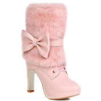 Short Fur Boots With Lace-Up and Bowknot Design