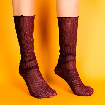 Mona Sheer Sock | Red