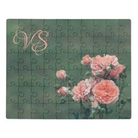 Beautiful pink roses. Add monogram. Jigsaw Puzzle