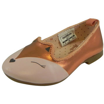OshKosh Girl's Tabby Slip On Fox Animal Ballet Flat Shoes Bronze
