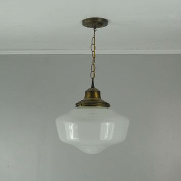 Antique Brass Schoolhouse Pendant Light - New Old Stock