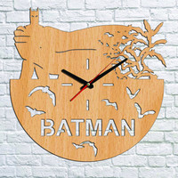 Batman Wall clock Wood clock Batman Gift Ideas Valentines gifts Batman Kids gift Children clock