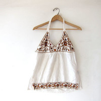 vintage tank top. embroidered halter top. festival floral tank. India top.