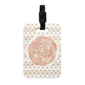 "Pellerina Design ""Watercolor Peony"" Pink Floral Decorative Luggage Tag"