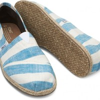 TOMS Blue and White Stripes Men's Canvas Classics Slip-On Shoes,
