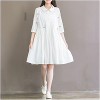 Summer Dress Short Sleeve Turn Down Collar White Dress High Waist Casual Women Dress Plus Size Women Clothing Mori Girl