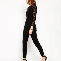 Black Long Sleeve Contrast Lace Jumpsuit - Sheinside.com